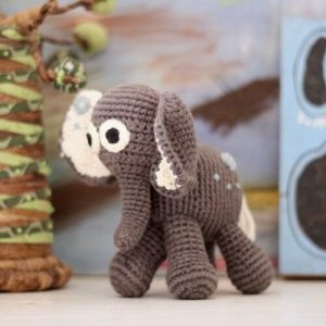 crochet children's elephant toy made in Zambia