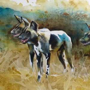 karen laurence rowe painting of painted dogs