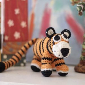 Handmade crochet ethically sourced tiger toy made in Zambia