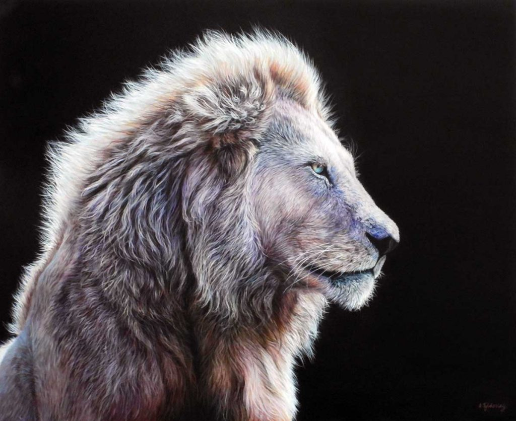 white lion painting by Amber Tyldesley