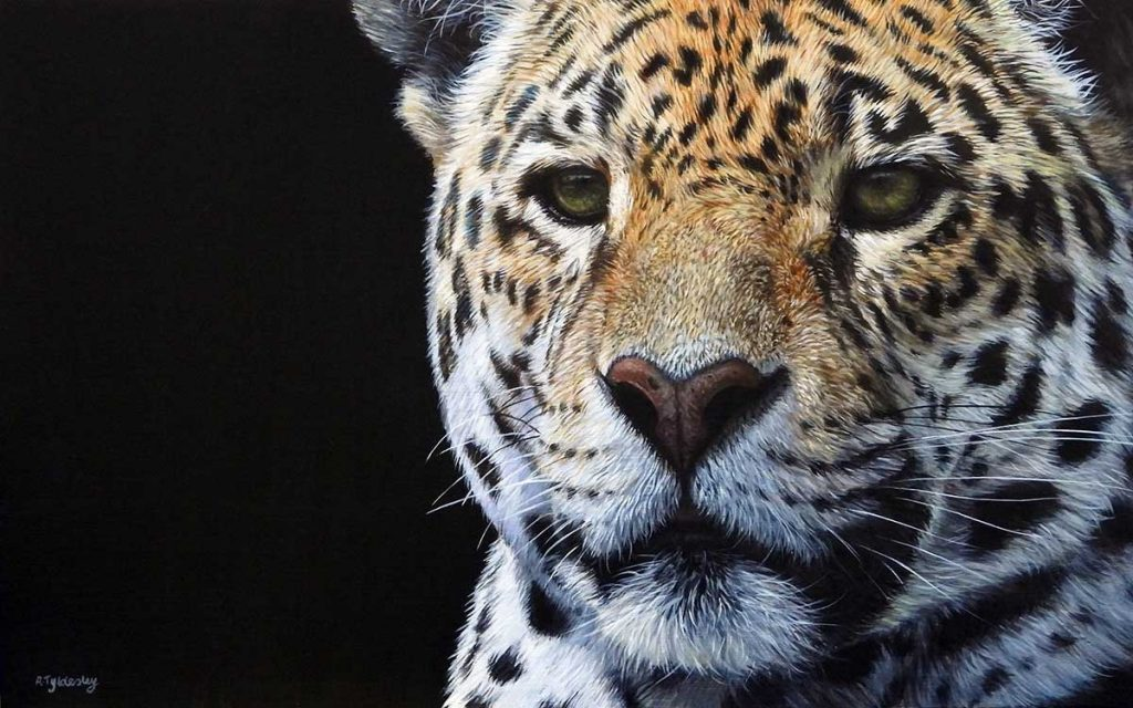 waiting game acrylic artwork of a jaguar