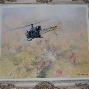 David Shepherd original artwork of a helicopter herding elephants