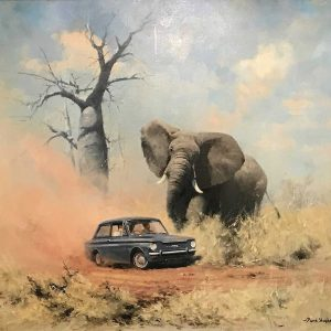 elephant charging car David Shepherd original artwork