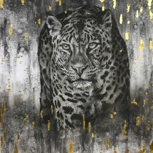 charcoal and gold leaf drawing by david wilson