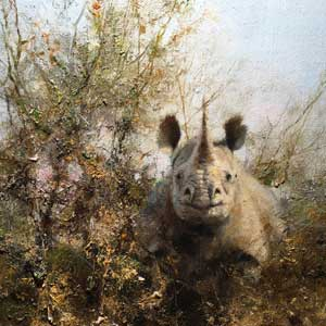David Shepherd Original Painting of a rhino