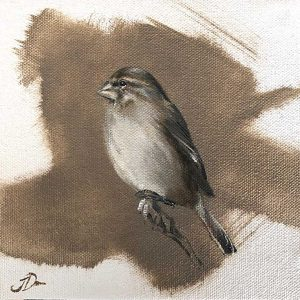 white throated canary oil artwork by Joni-Leigh Doran