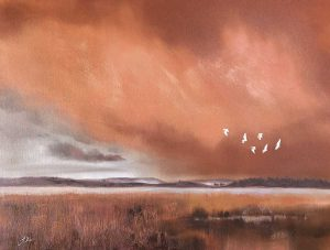 Egrets flying in an African landscape artwork by Joni-Leigh Doran