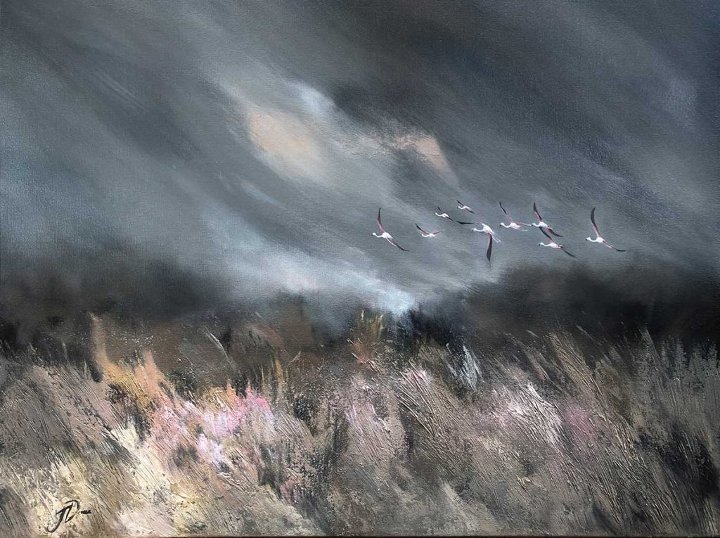 flamingos flying over fynbos artwork by Joni-Leigh Doran