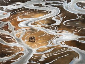 elephant in river bed artwork by Joni-Leigh Doran of Scott Ramsay photo