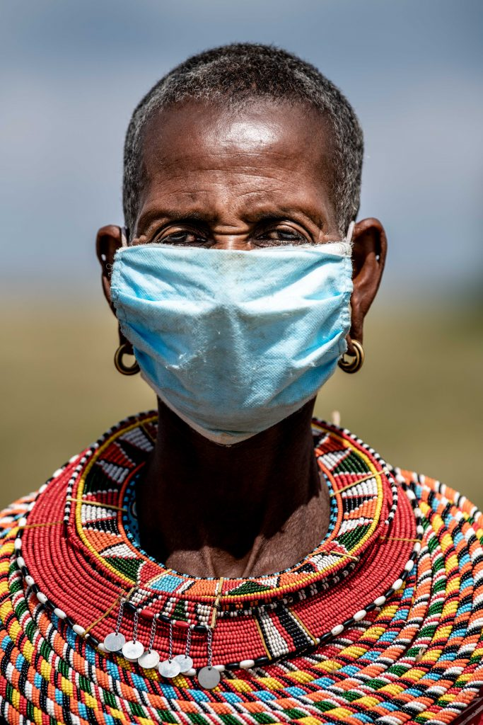 masai lady wearing as mask during Covid-19 pandemic