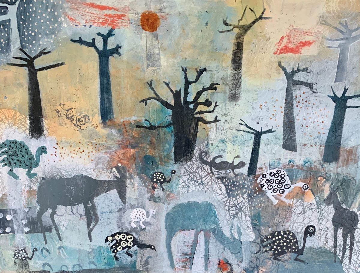 Art work by Colette Clegg titled Topi & Guinea Fowl Among the Mighty Baobabs