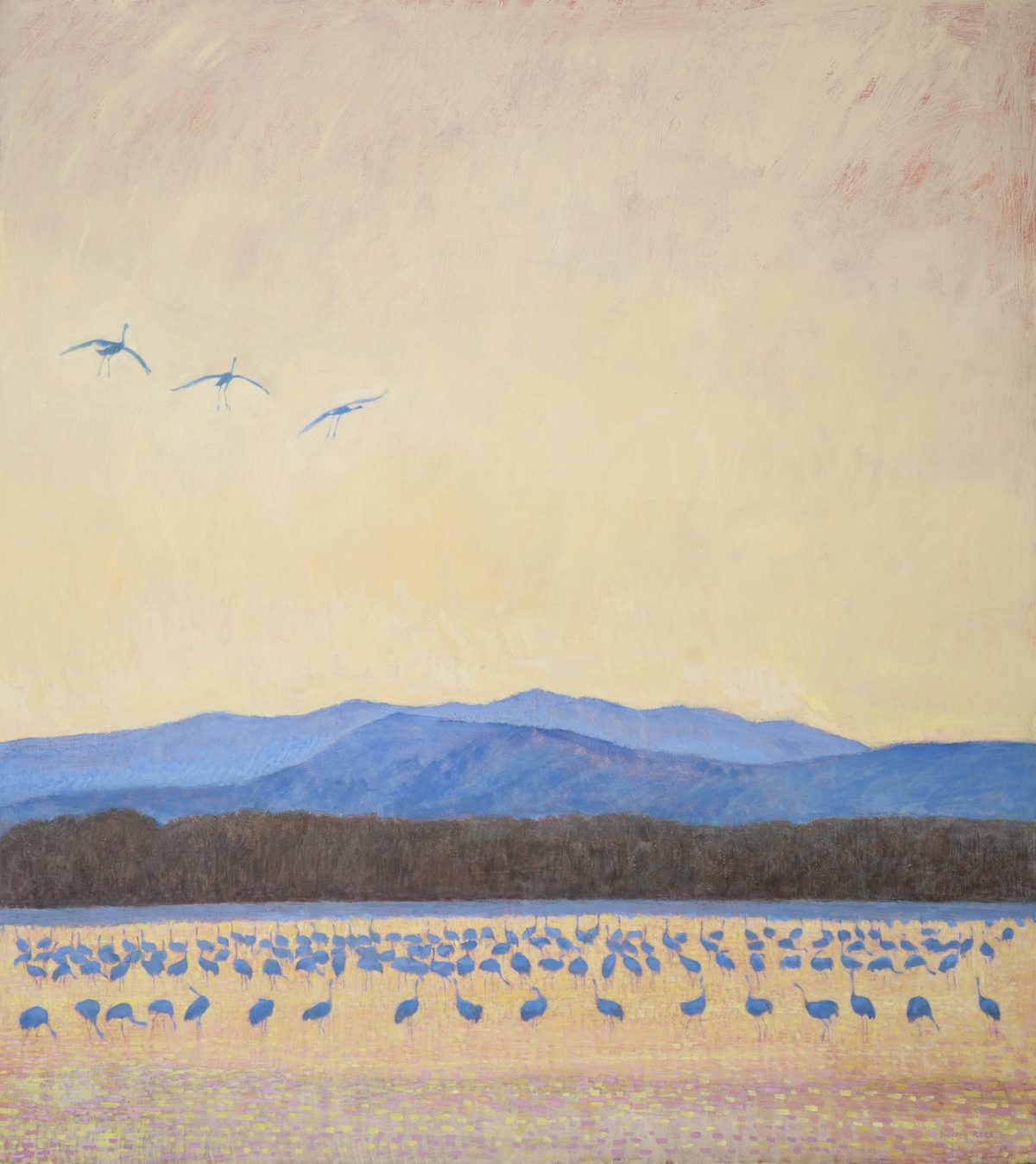 Painting by Darren Rees titled Cranes, Bosque del Apache