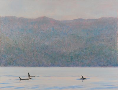Painting by Darren Rees titled Orcas, Blackfish Sound
