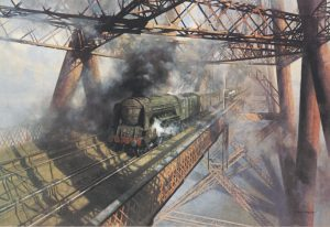 Painting of a steam train by david shepherd titled over the forth