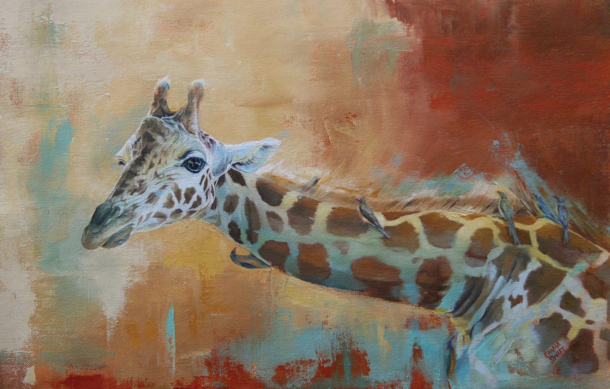 Painting of giraffe and oxpecker by Emma Swift