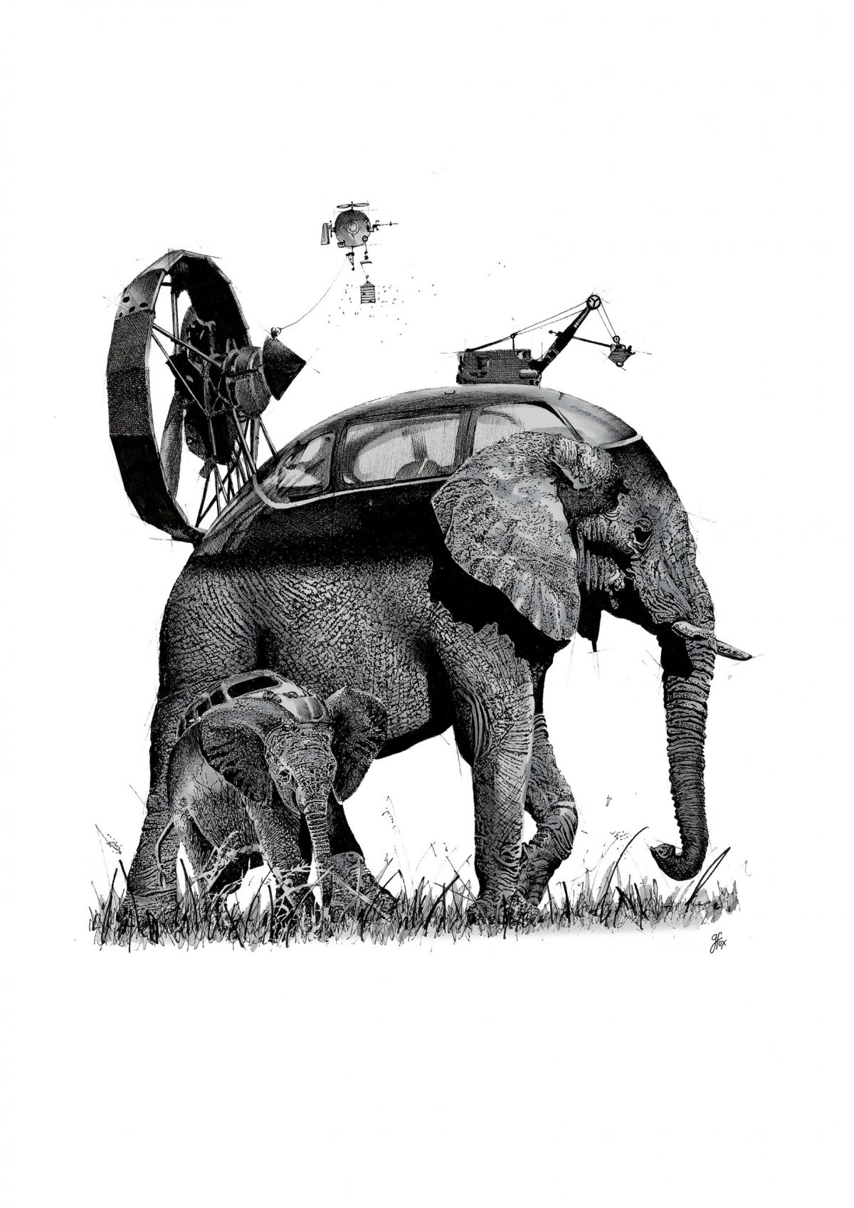 An ink illustration of an elephant