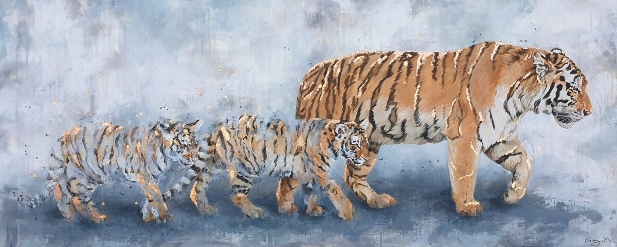 An acrylic painting of tigers