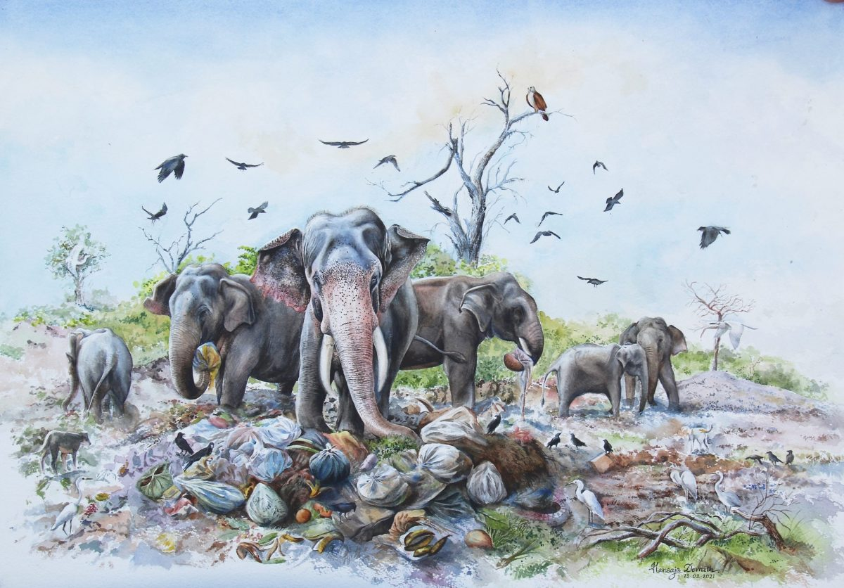 A watercolour painting of a herd of elephants