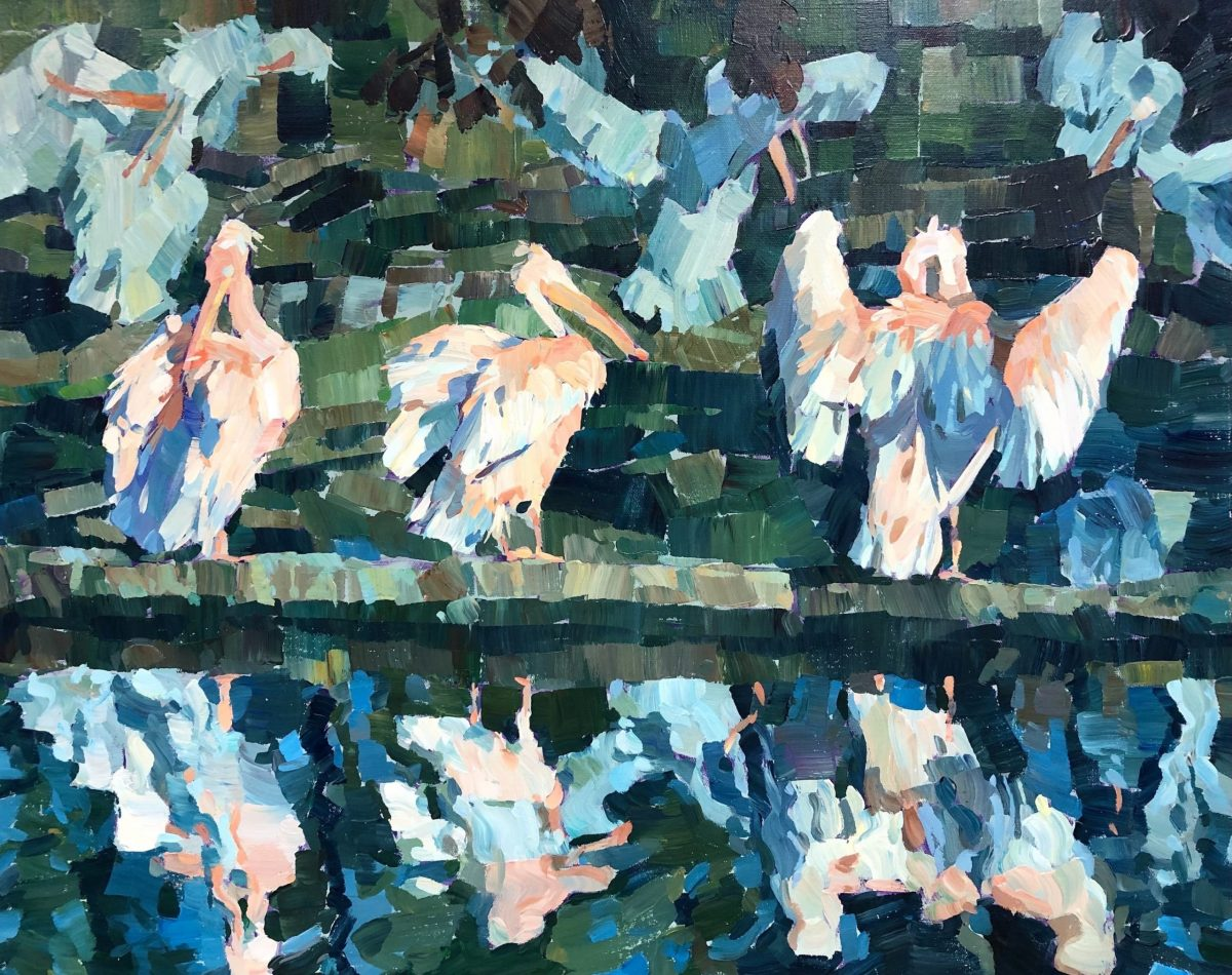 An acrylic painting on stretched canvas of pelicans