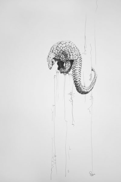 An ink painting by Jenny Strathern called On the Precipice