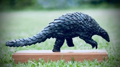 A pangolin sculpture by Jonathan Parkinson called On the Move