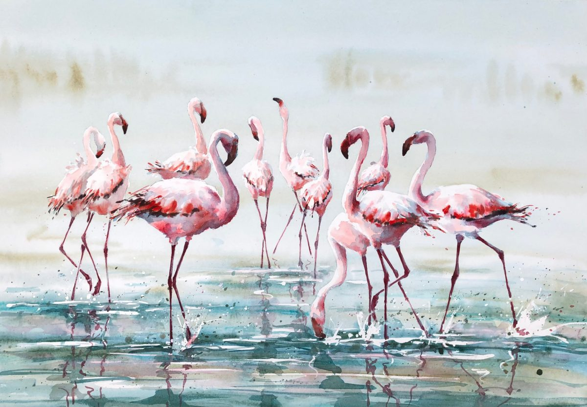 Painting by Julia Cassels titled Fishing Party