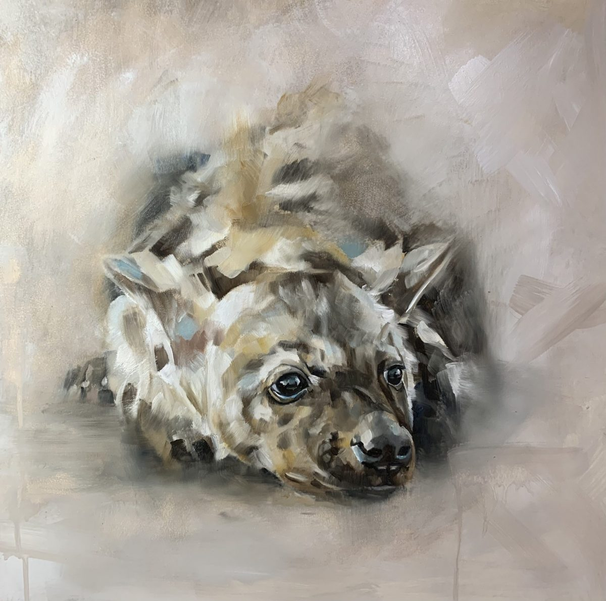 Painting by Julie Brunn titled Hyena Cub