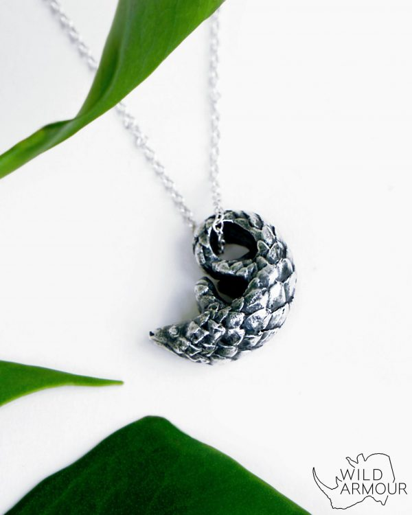 Save the pangolin necklace silver by Katy Fields