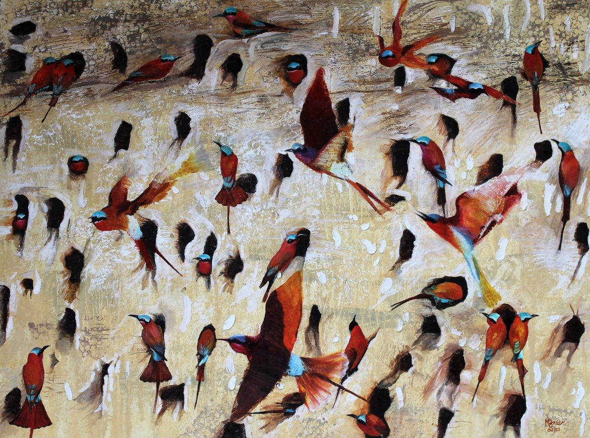 oil painting of a flock of bright carmine