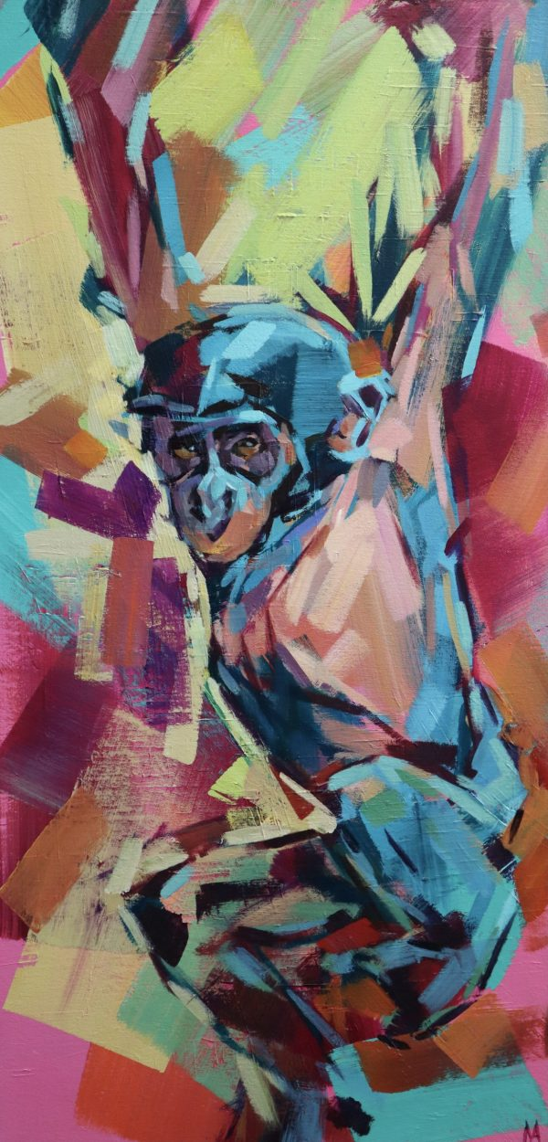 acrylic painting of a baby primate