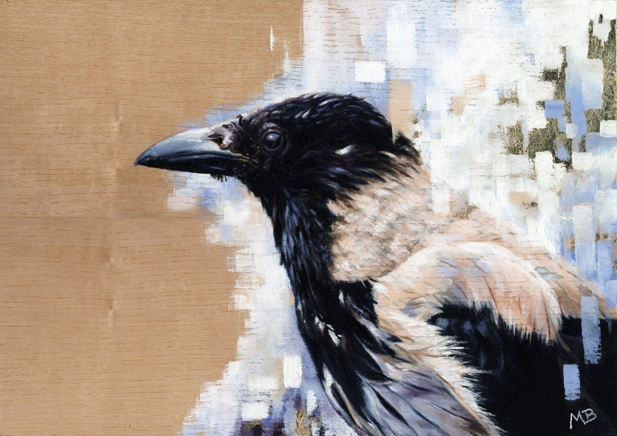 textured oil painting of a leucistic crow