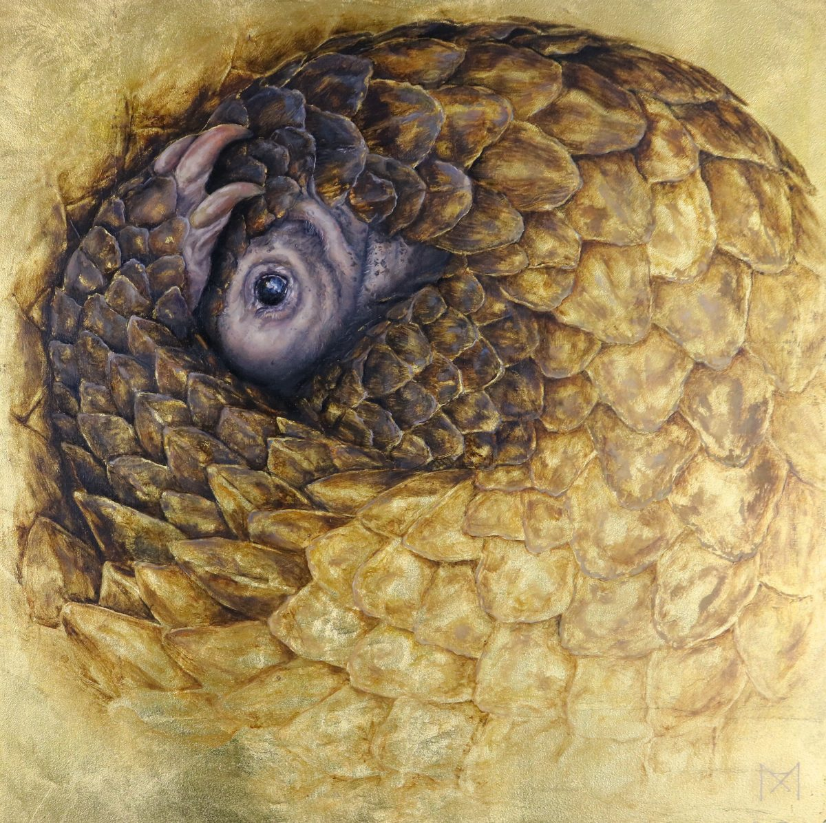 oil painting of a curled up pangolin with gold leaf detailing