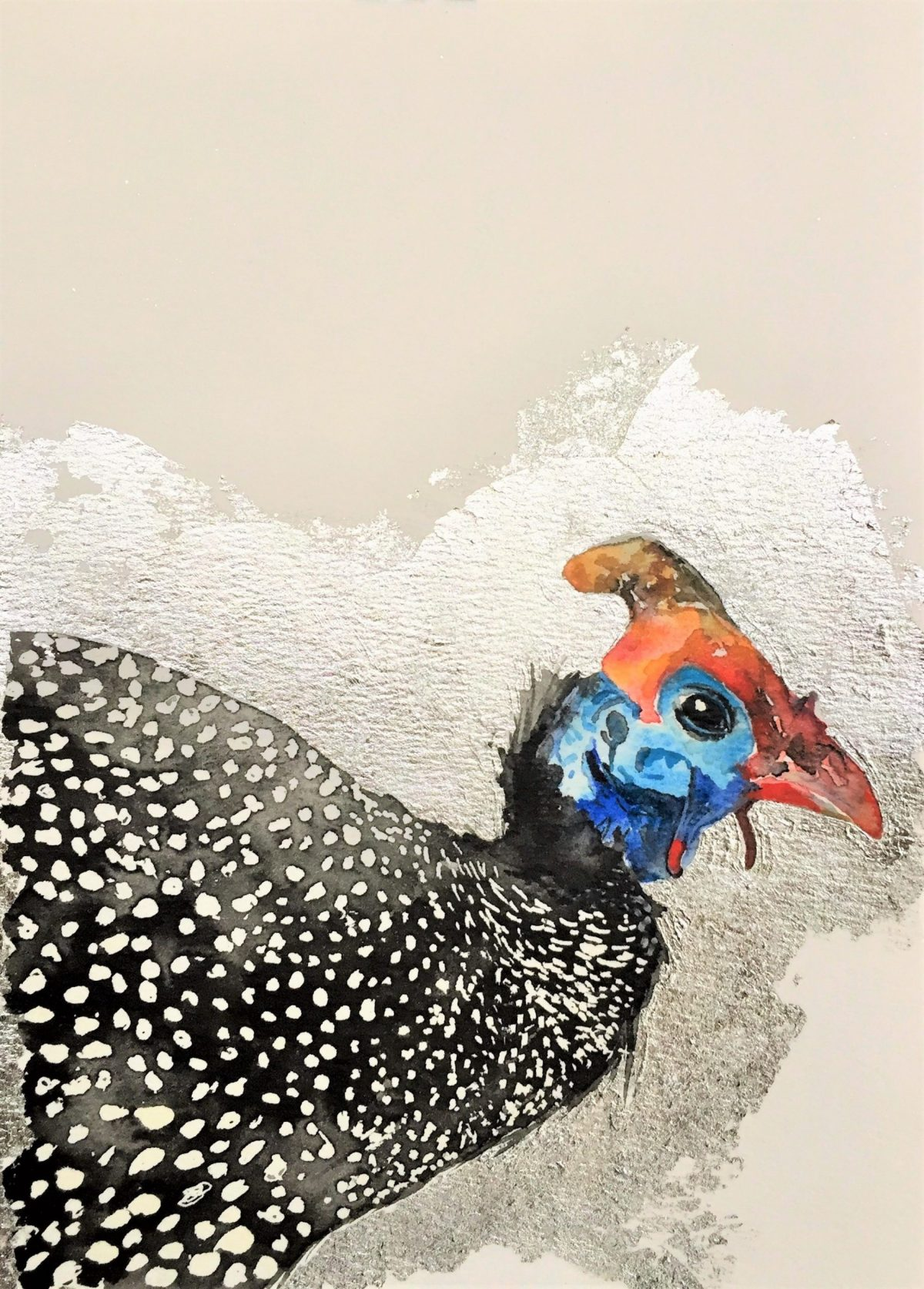 A watercolour painting of guinea fowl with silver aluminium foil