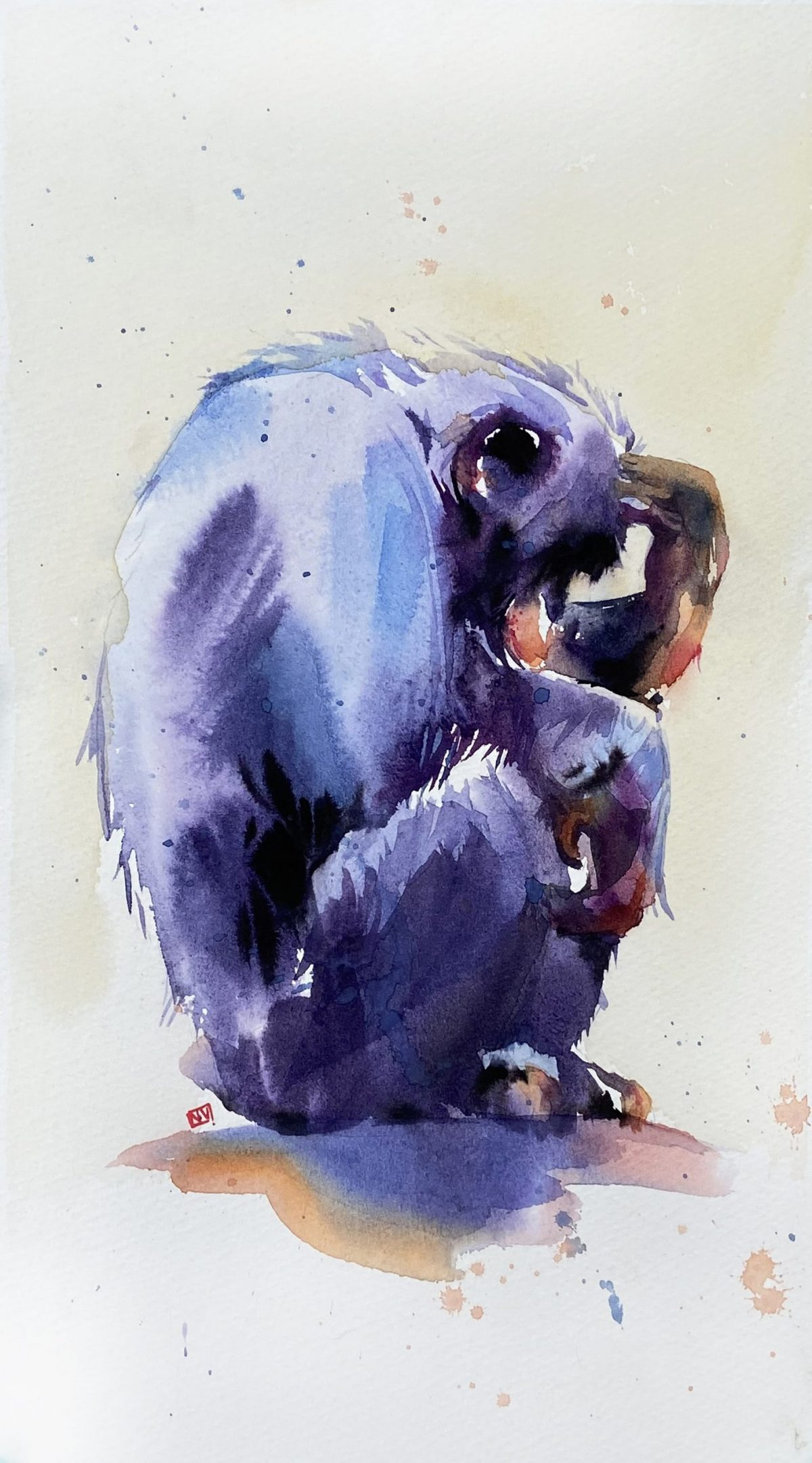 A watercolour painting of a chimpanzee