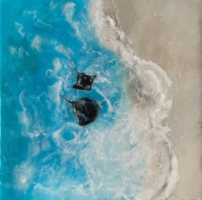 An acrylic painting of stingrays & eagle rays with epoxy resin and sand.