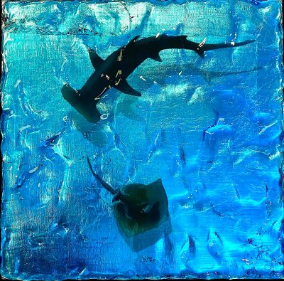 An acrylic painting with silver leaf & 3D resin top coat of a hammerhead shark chasing a stingray