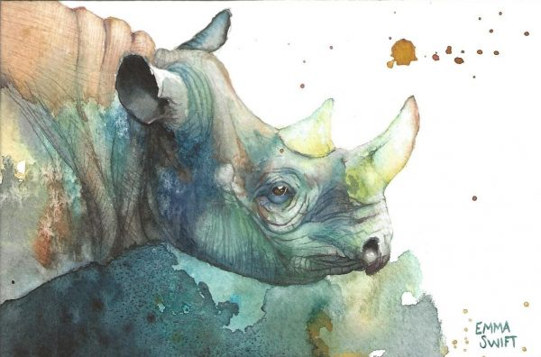 A postcard size watercolour painting of a rhino