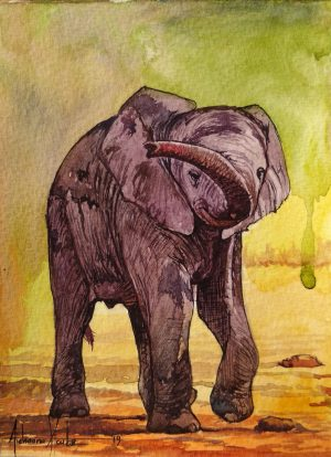 A postcard size watercolour painting of a baby elephant