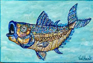 A postcard sized painting of a fish