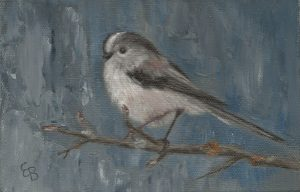 A postcard size oil painting of a Long Tailed Tit