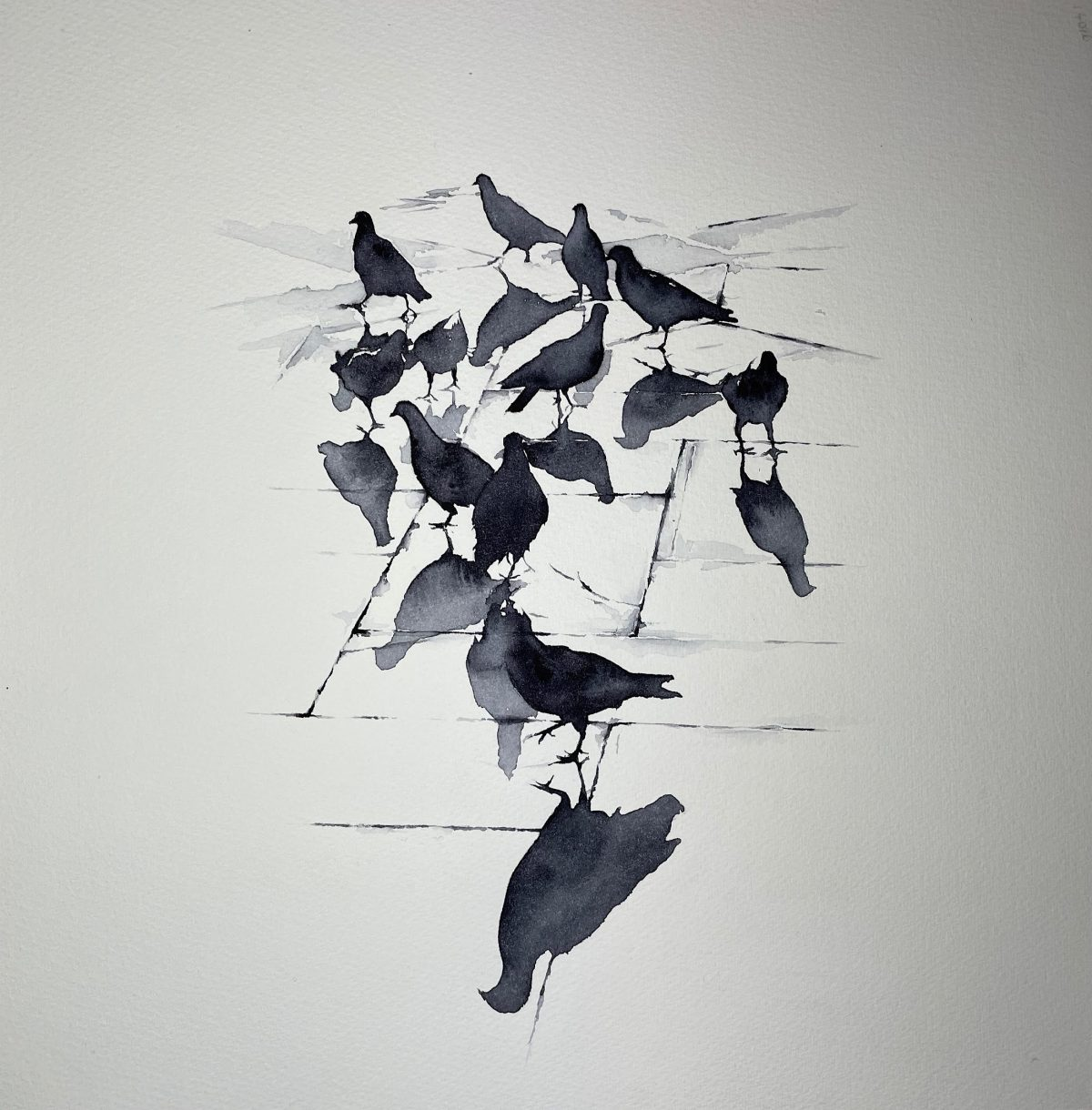 A watercolour painting of pigeons after rainfall