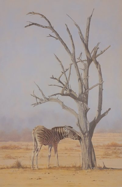 An oil painting of a baby zebra