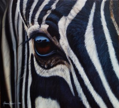 A painting by Tichaona Ncube called Shadows of a Zebra