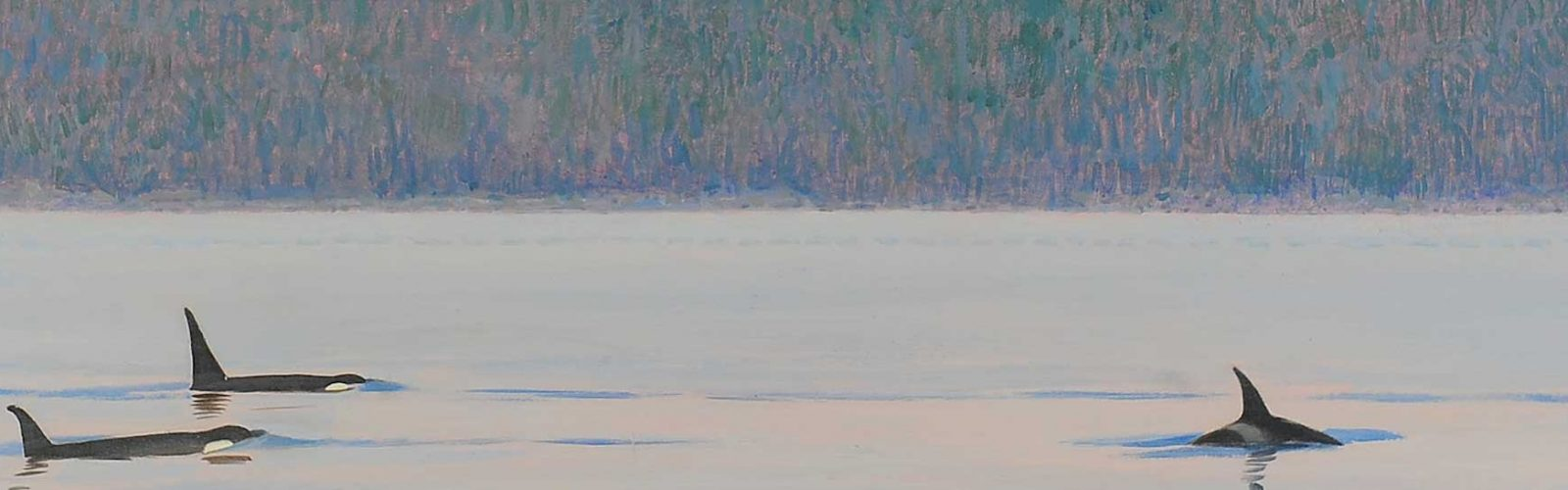 a painting of whale breaching